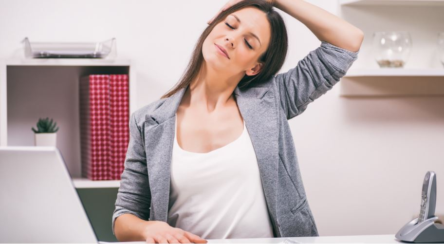 There are some stretches you can do to relieve neck pain.